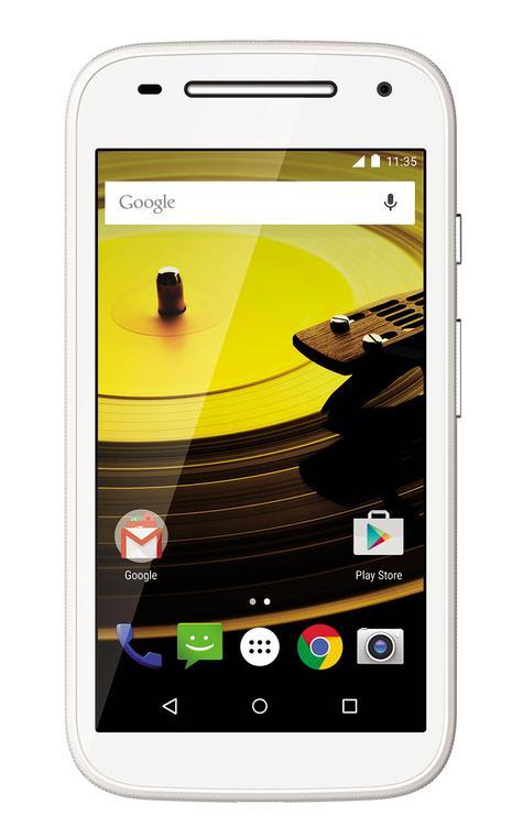 Motorola Moto E en color blanco vista frontal