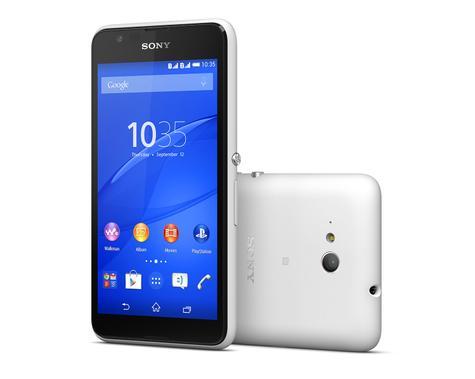 Sony Xperia E 4G vista frontal y trasera en color negro y blanco