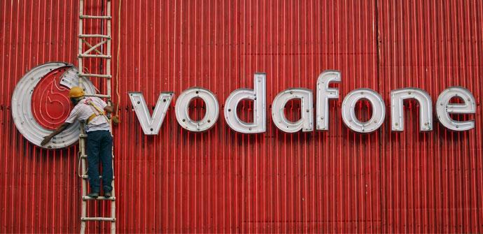 Pared con el logo de Vodafone