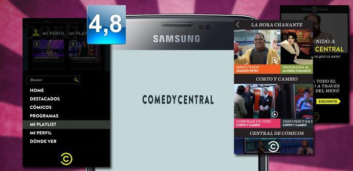 Imagen de pantallas de la aplicación Comedy Central