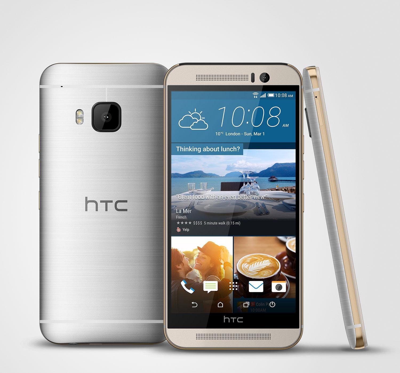 HTC One M9 en color dorado y plateado