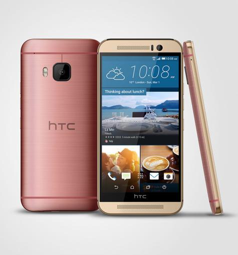 HTC One M9 en color plata y rojo
