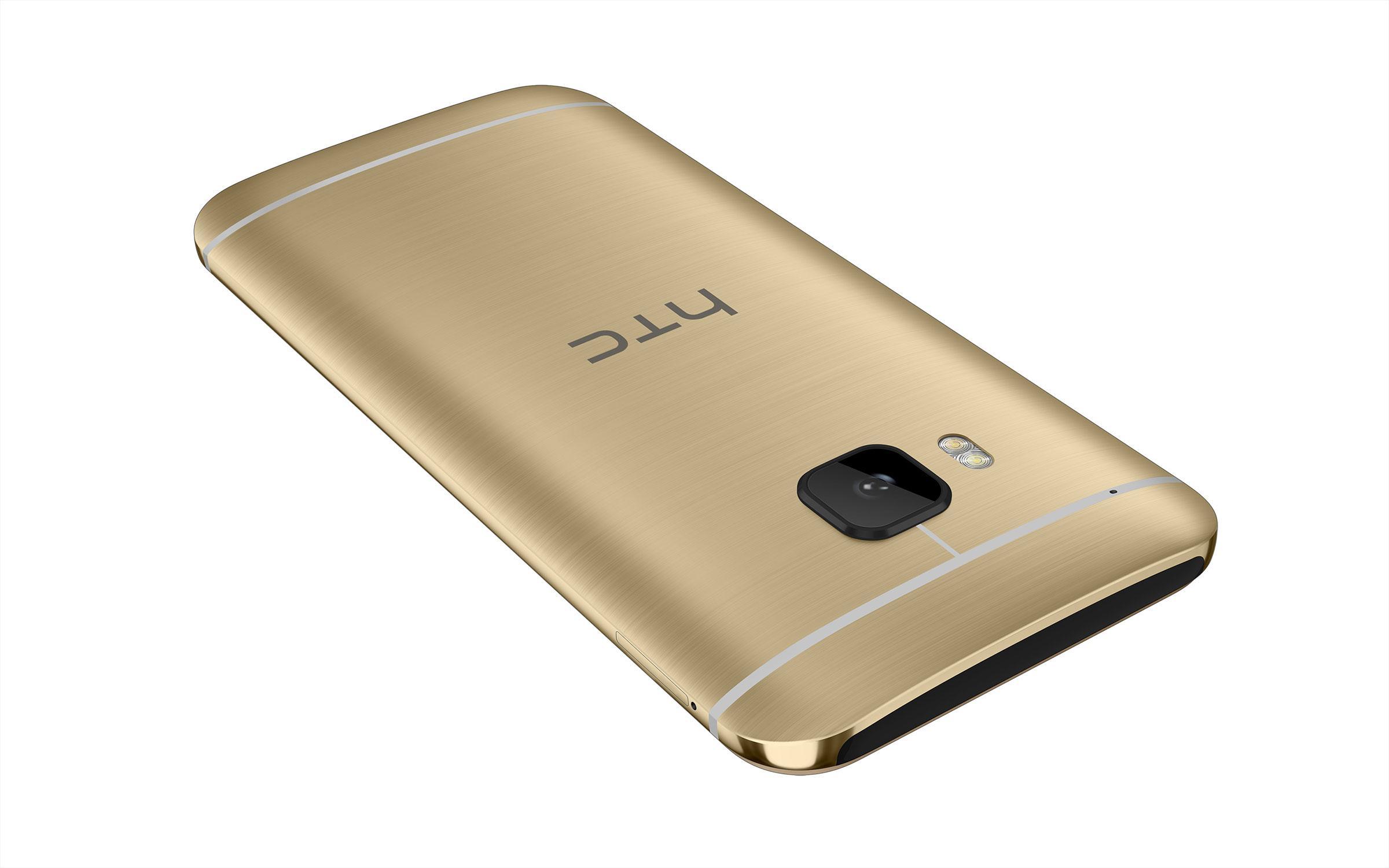 HTC One M9 en color oro, vista tarsera