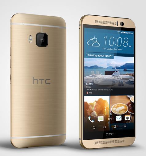 HTC One M9 en color oro, vista frontal y trasera