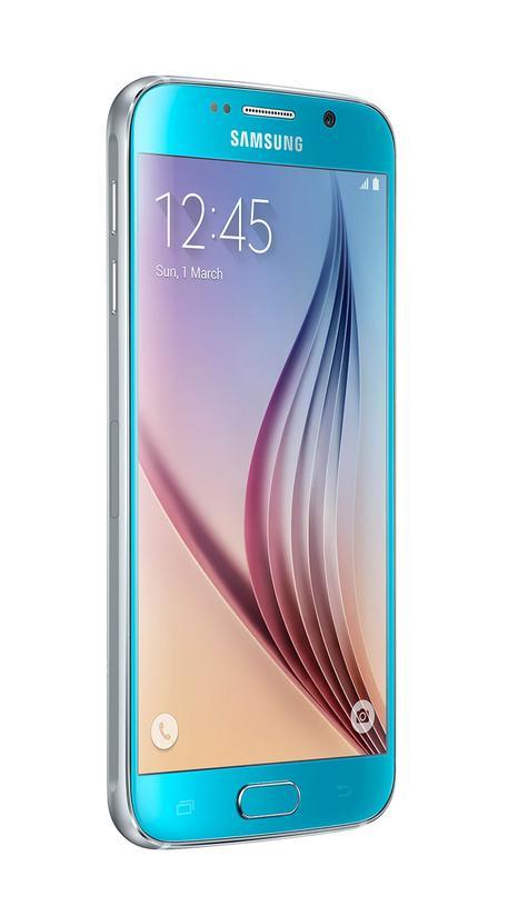 Samsung Galaxy S6 en color azul vista lateral