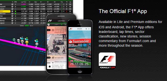 Fórmula 1 aplicación oficial 2015.