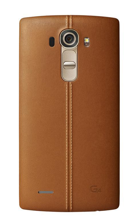 LG G4 detalle de la cámara y de carcasa de cuero