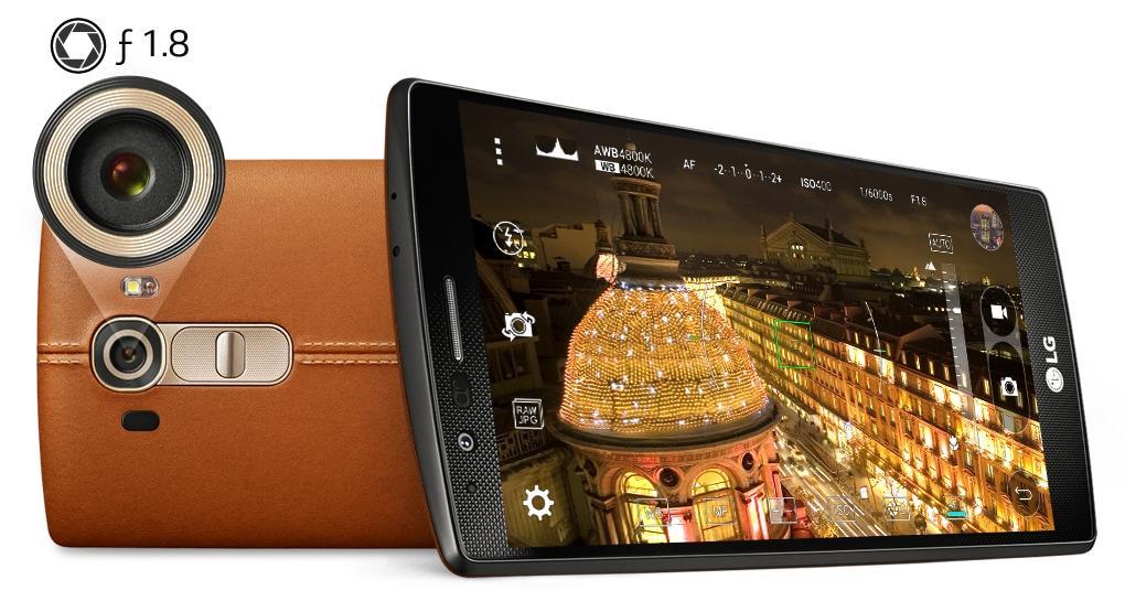 LG G4 detalle del objetivo de la cámara y de la parte trasera en cuero