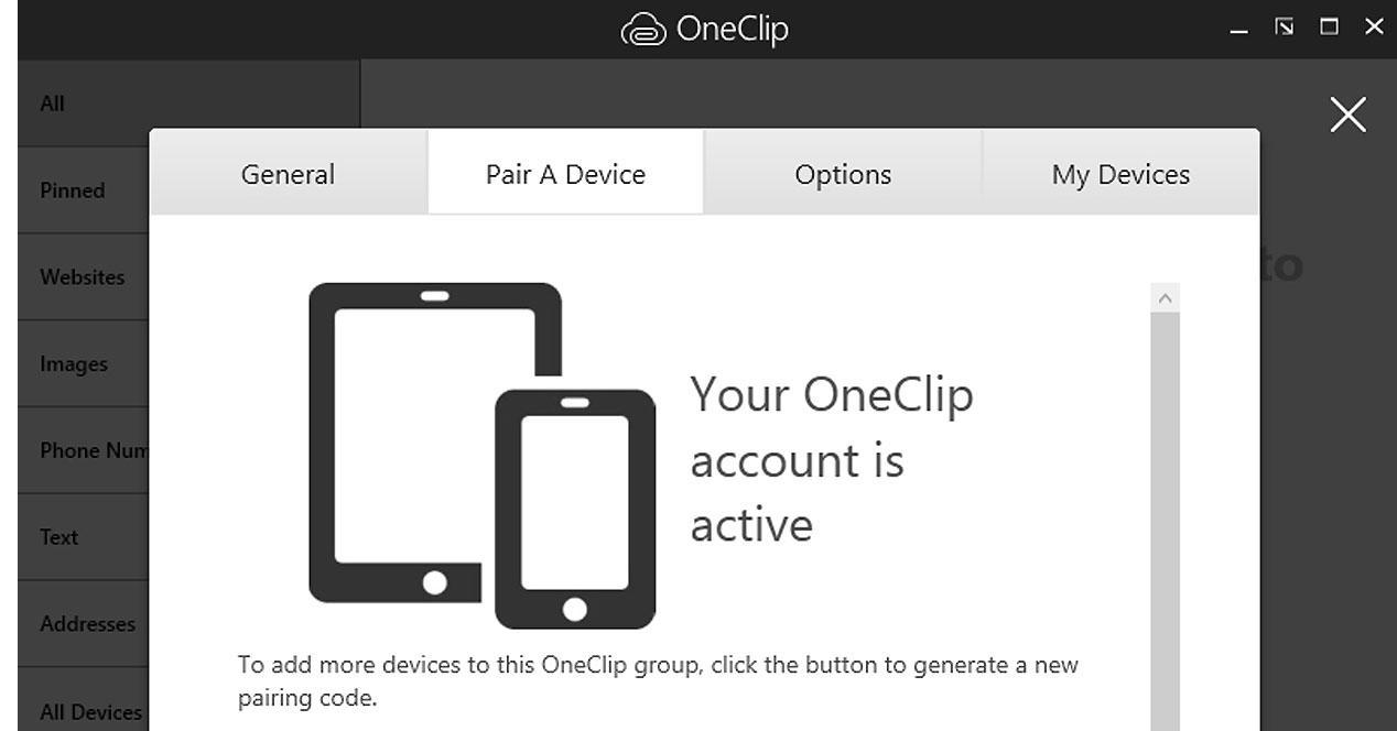 Interfaz de Microsoft OneClip