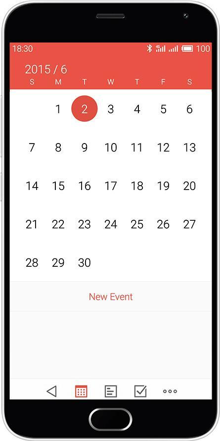 Meizu M2 Note pantalla del calendario
