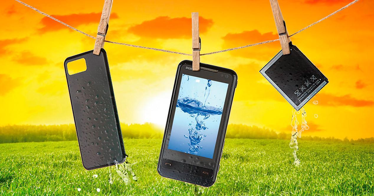 Waterrevive Blue revive móviles mojados.