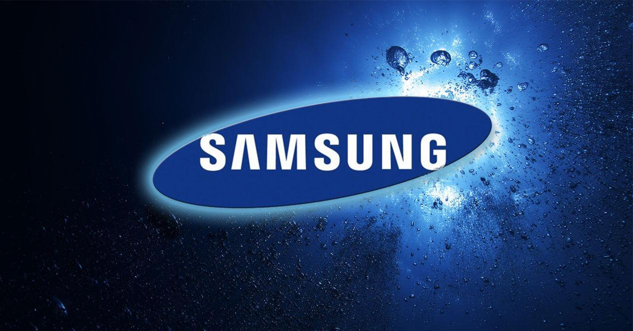 Logotipo de Samsung sobre fondo azul
