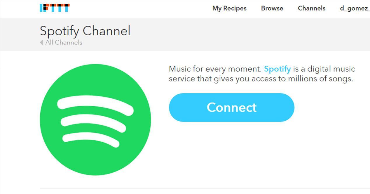 Canal Spotify en IFTTT