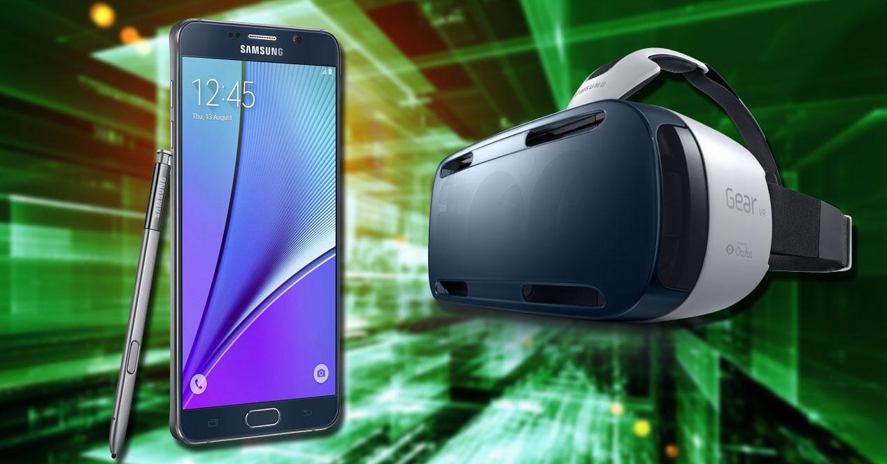 Imagen del Samsung Galaxy NOte 5 y las gafas Samsung Gear VR