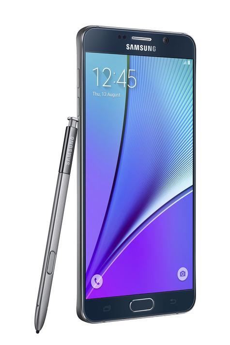 Samsung Galaxy Note 5 lateral con lápiz en color negro