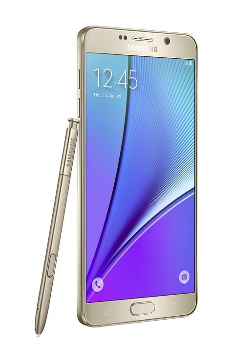 Samsung Galaxy Note 5 lateral con lápiz en color dorado