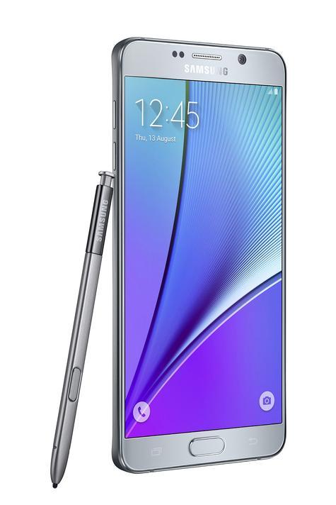 Samsung Galaxy Note 5 lateral con lápiz en color gris
