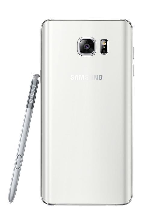 Samsung Galaxy Note 5 blanco vista trasera
