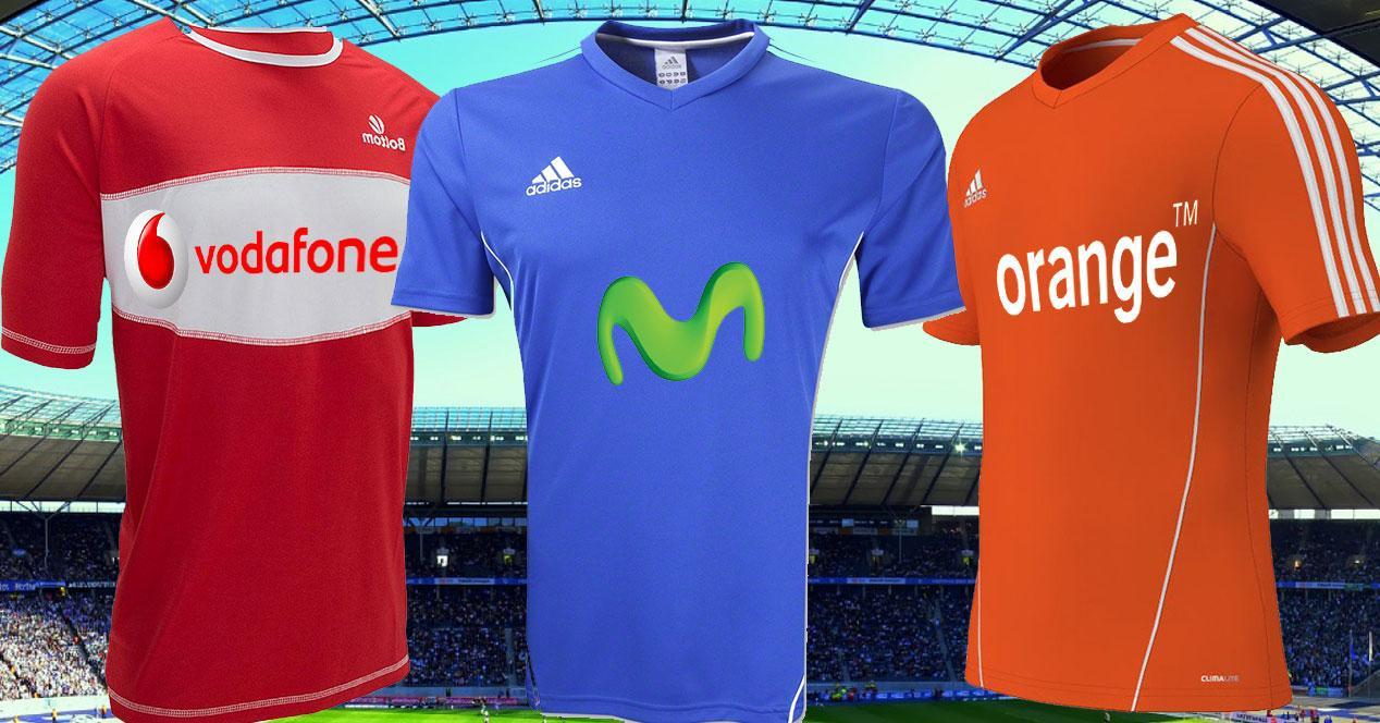 camisetas movistar, orange y vodafone