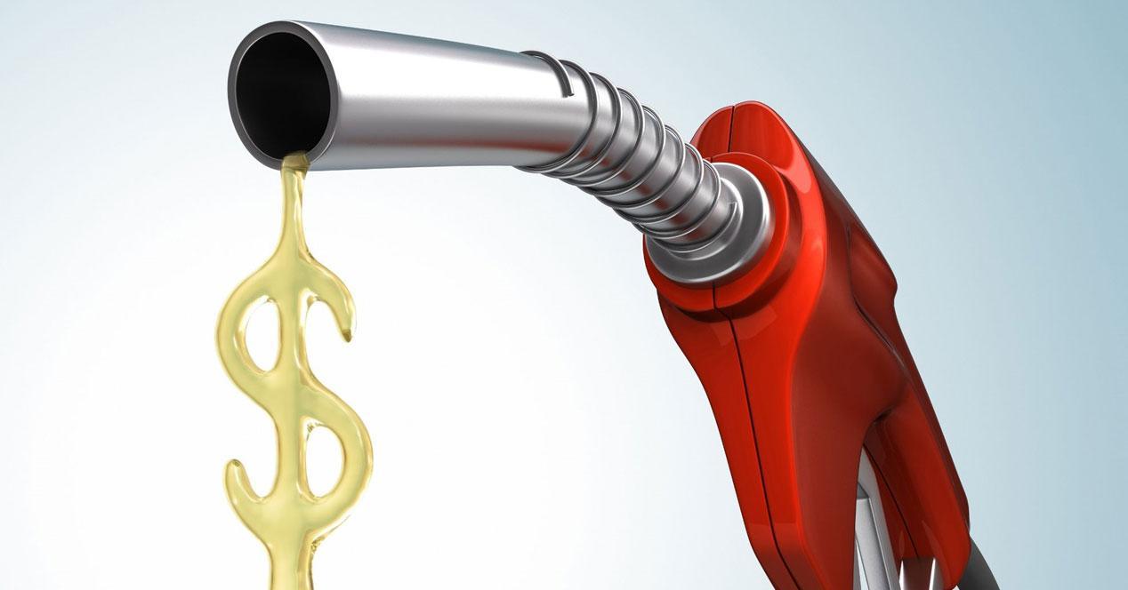 manguera de gasolina con simbolo de dólar