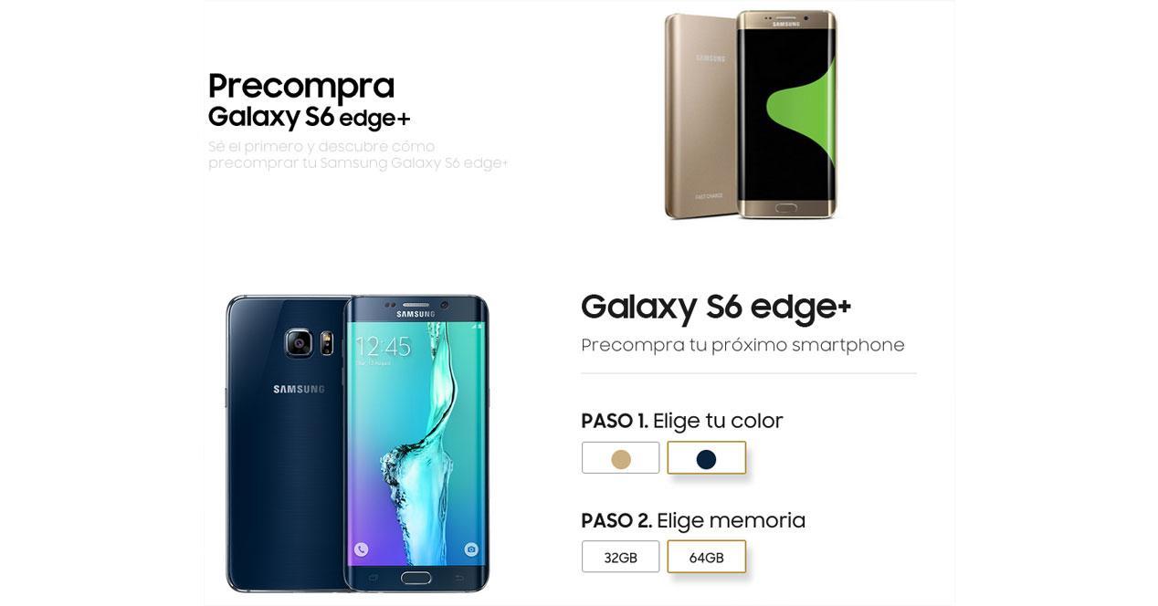 SAmsung Galaxy S6 edge+ web precompra españa