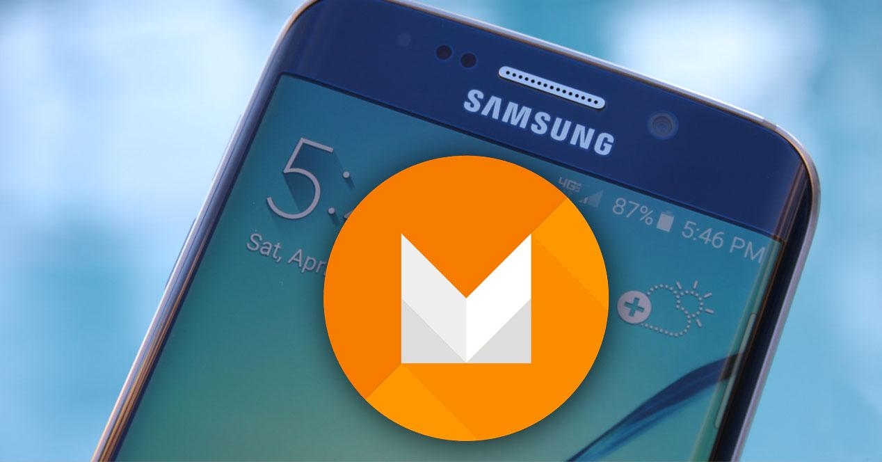 Samsung Galaxy S6 edge con logo Android M