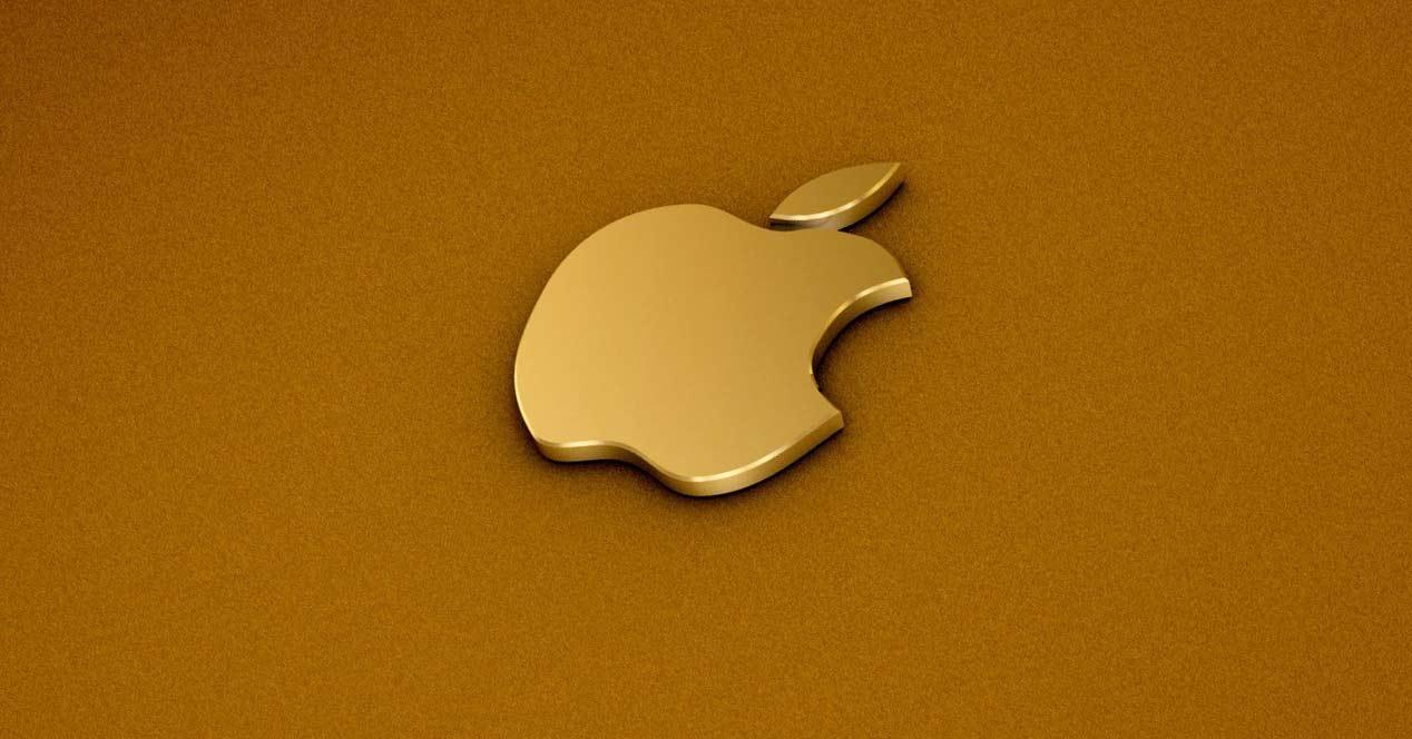 Logo de Apple en color oro