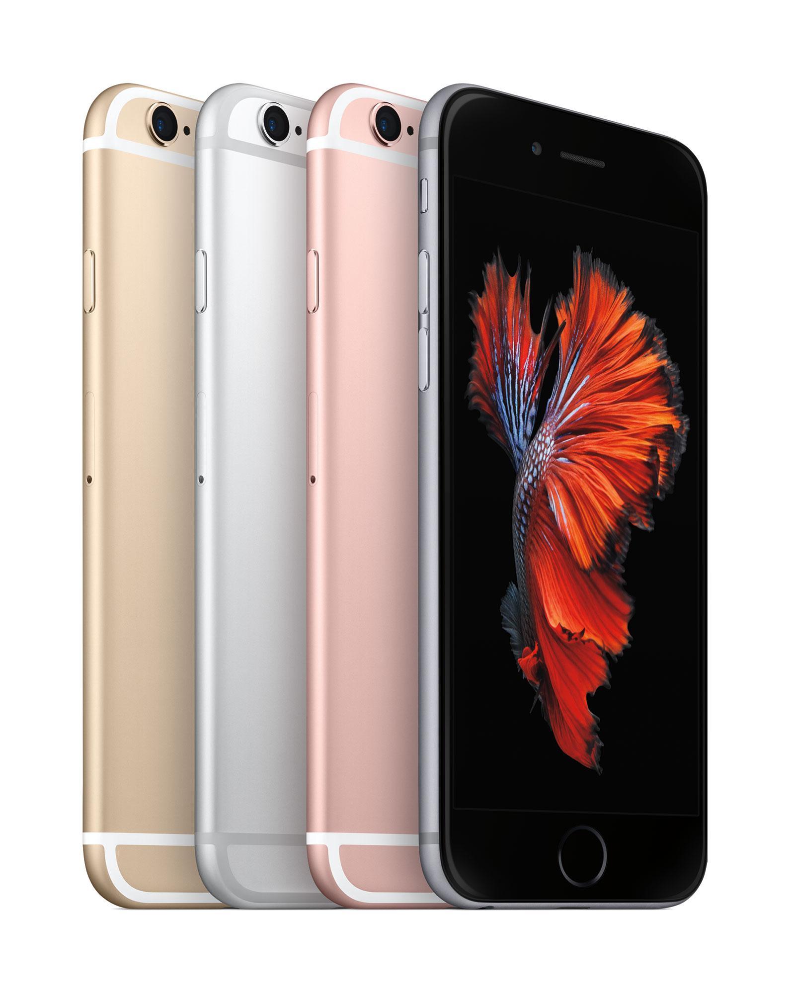 iPhone 6s en color oro, gris, rosa y plata