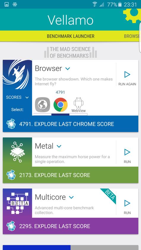 Resultado en Vellamo del Samsung Galaxy S6 Edge Plus