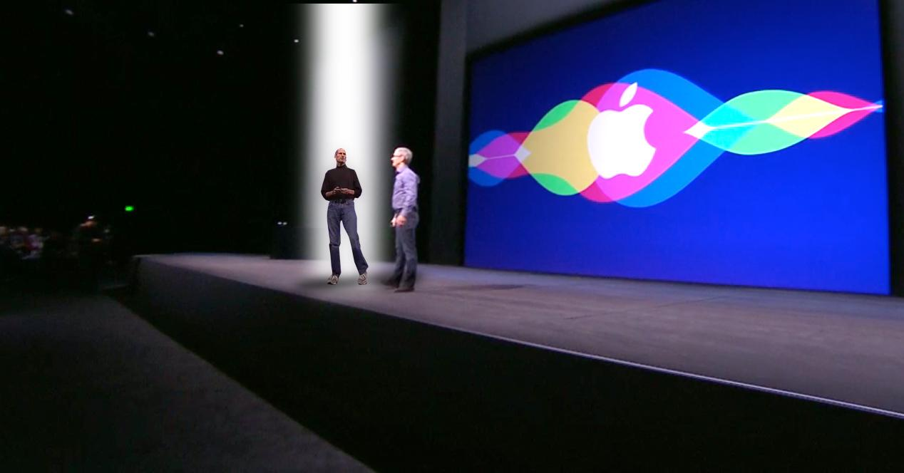 Tim Cook y Steve Jobs en la Keynote