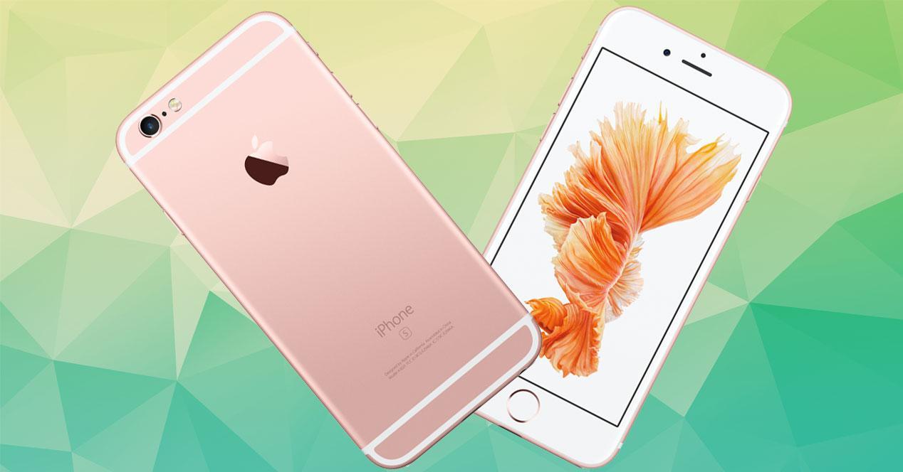 iPhone 6s Rose Gold frontal y trasera en fondo verde