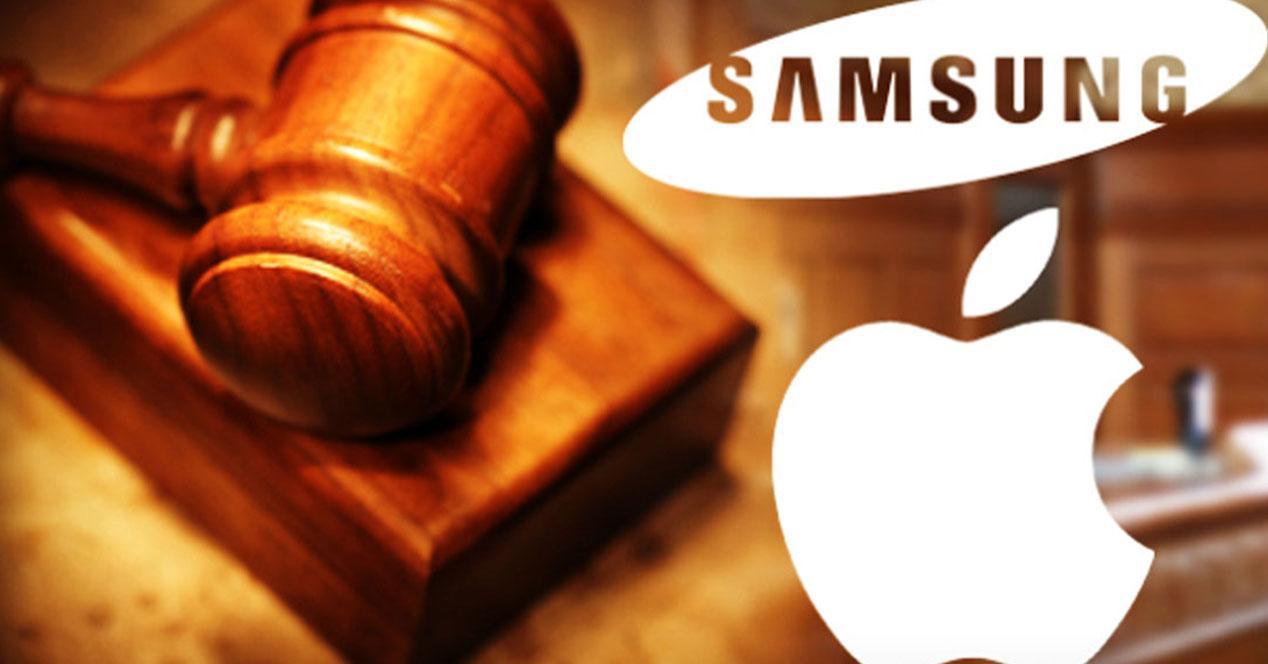 mazo con logos de Apple y Samsung