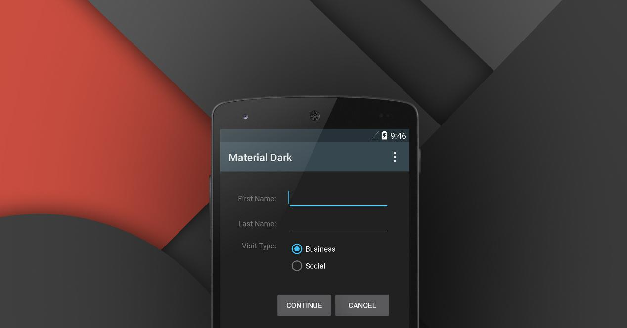 Material Design tema oscuro Android 6.0