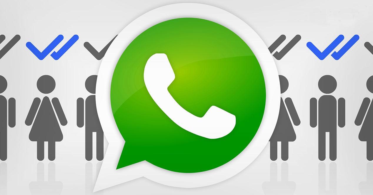 Logo de WhatsApp con doble check azul en personas