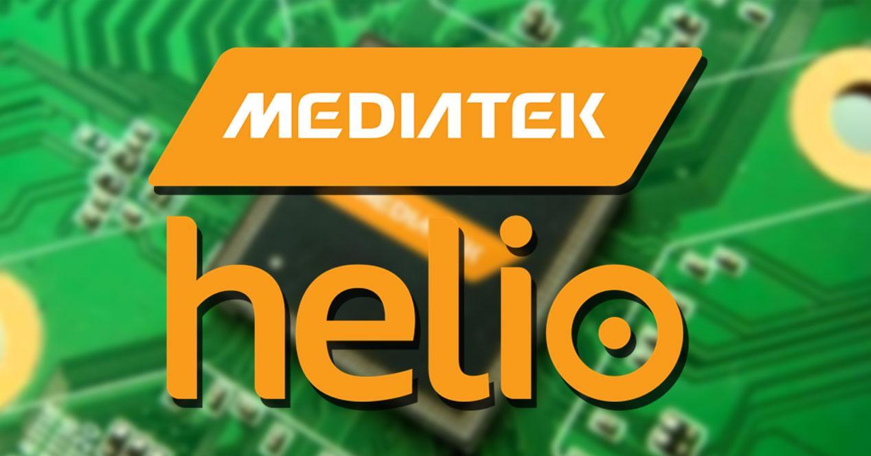 MediaTek Helio con montaje de fondo verde