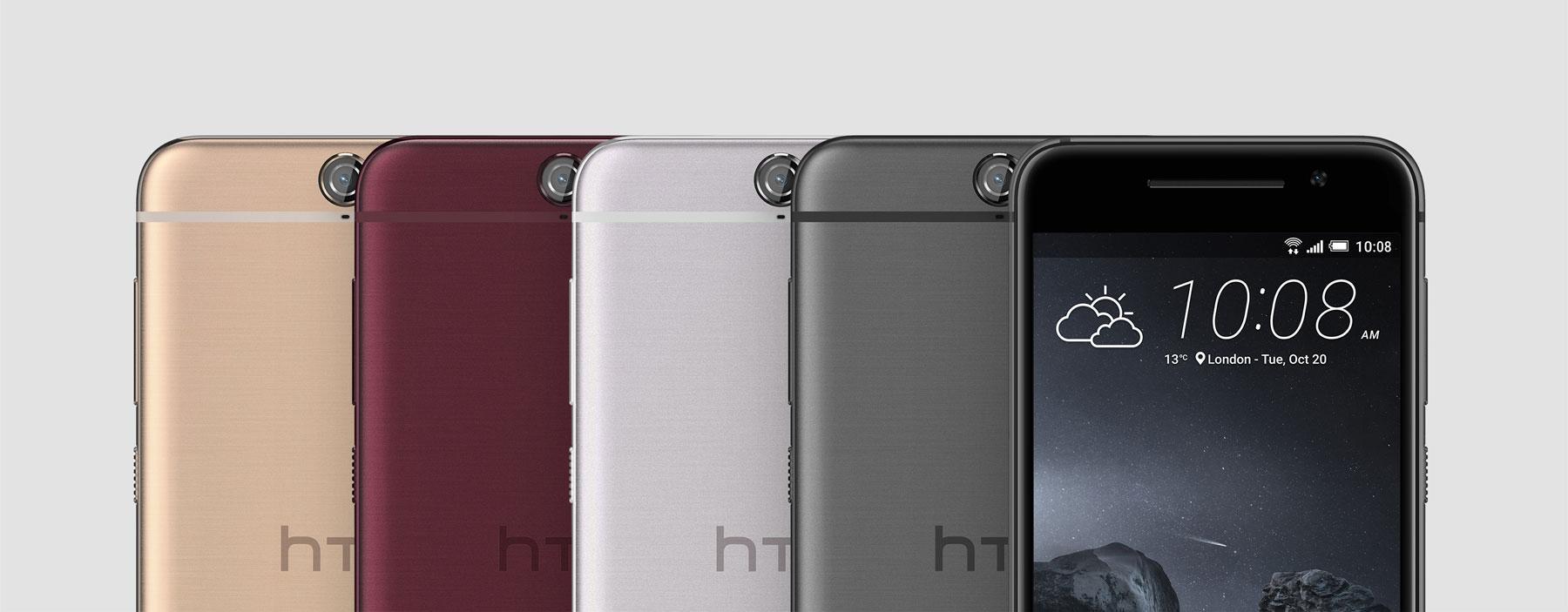 HTC One A9 en negro, gris, blanco y rojo