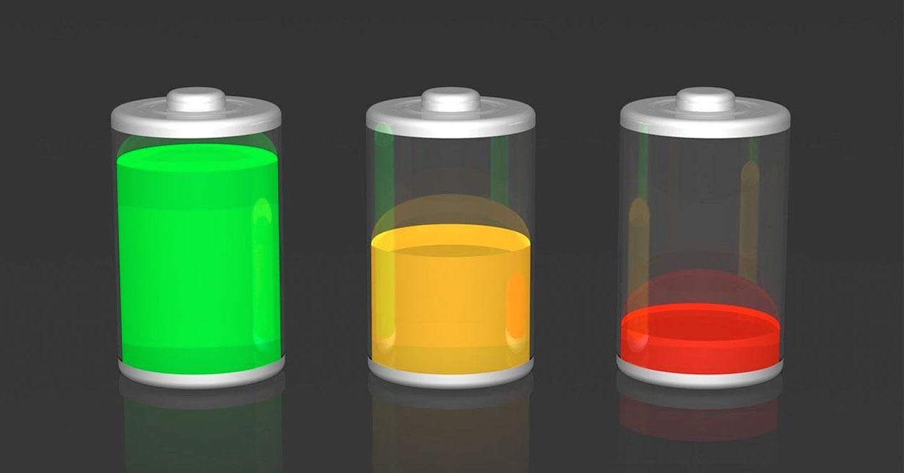 iconos de las baterías con diferentes niveles de carga