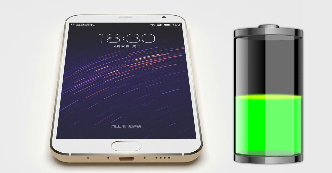 Meizu MX5 blanco e icono de batería