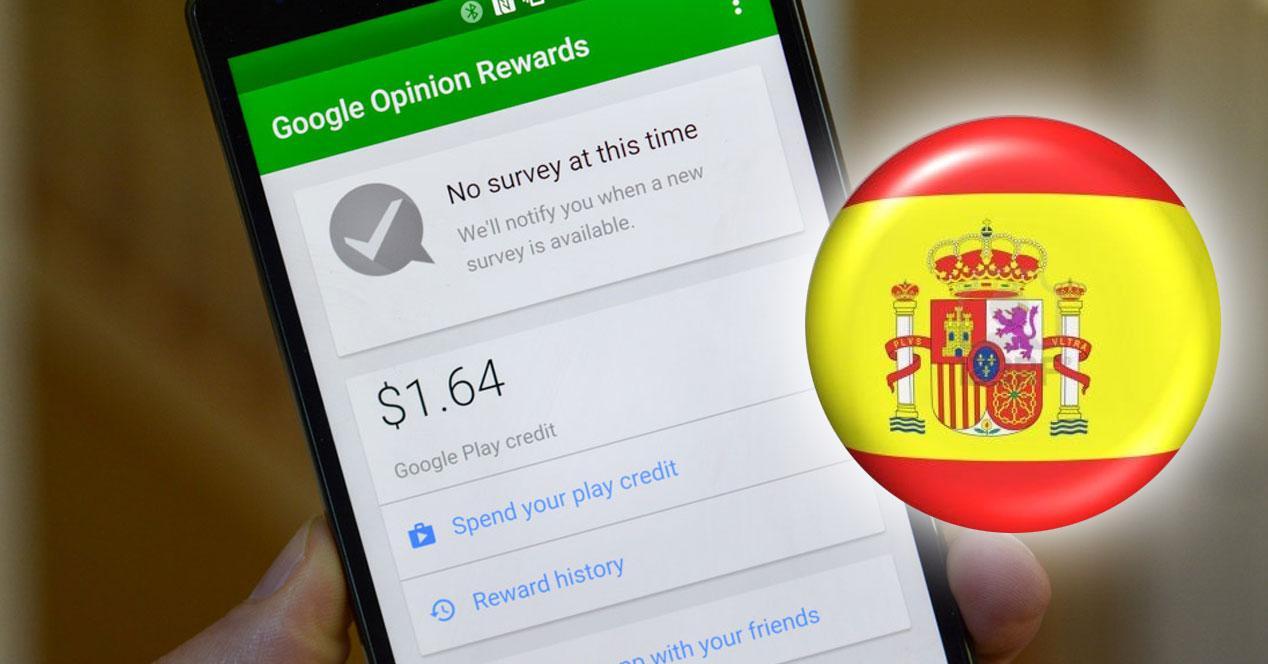 Google Opinion Reward con bandera españa