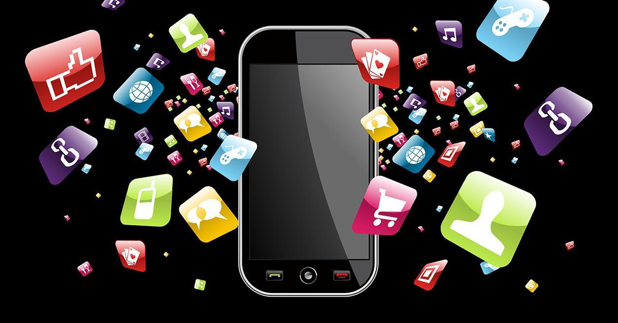 Smartphone con iconos de apps
