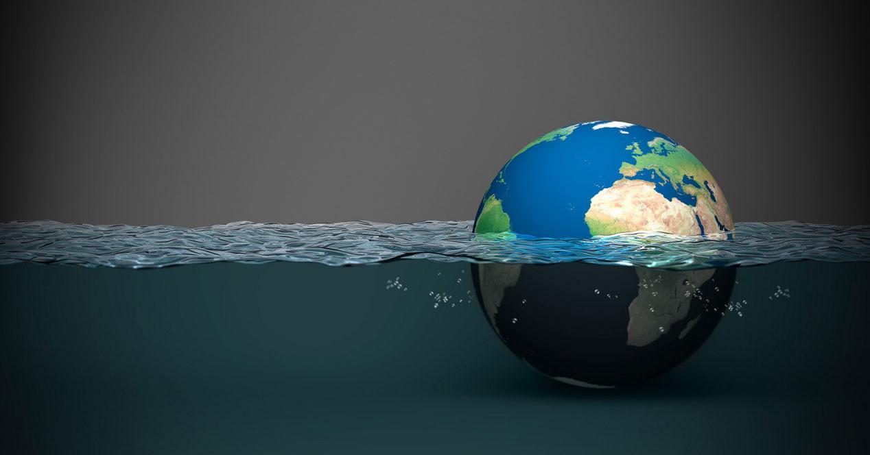 globo terráqueo inundado
