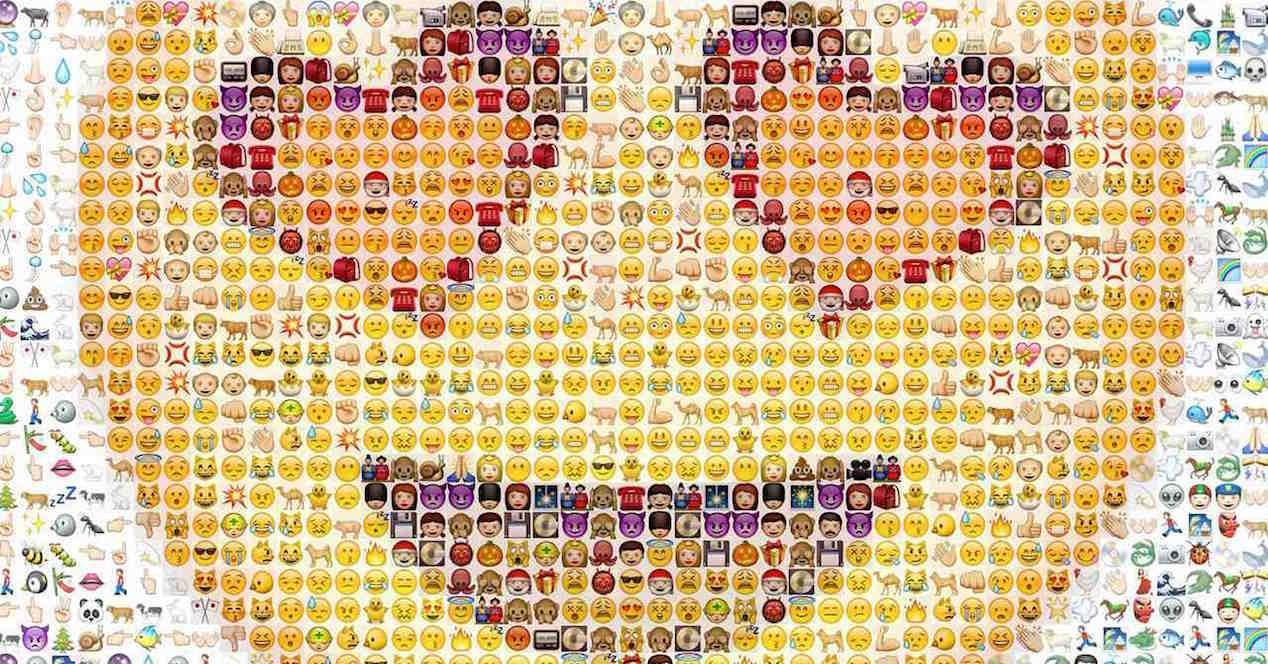 mosaico de emoticonos emojis