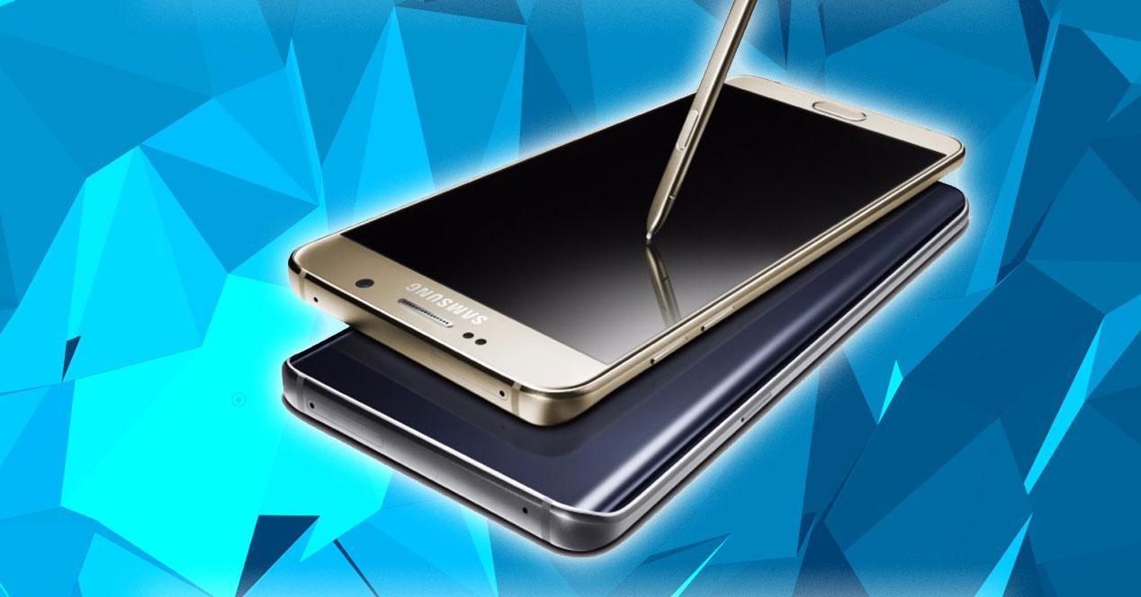 Samsung Galaxy Note 5 con fondo azul