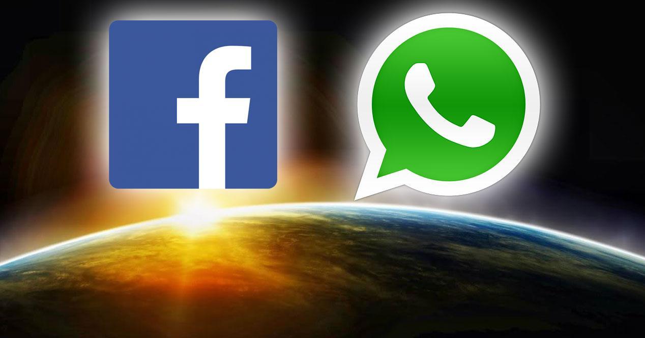 Facebook WhatsApp sobre el amanecer