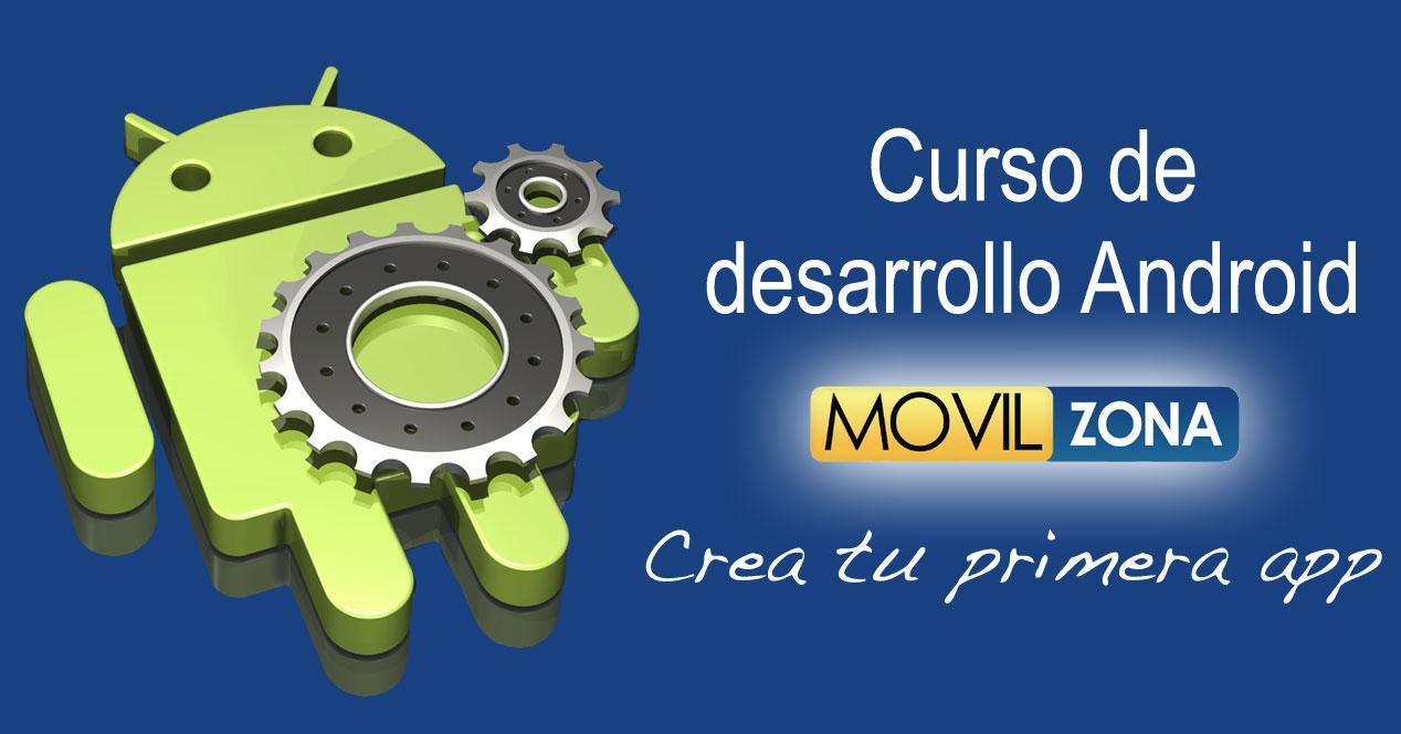 Carátula del Curso de Desarrollo Android de Movilzona con logo de Android