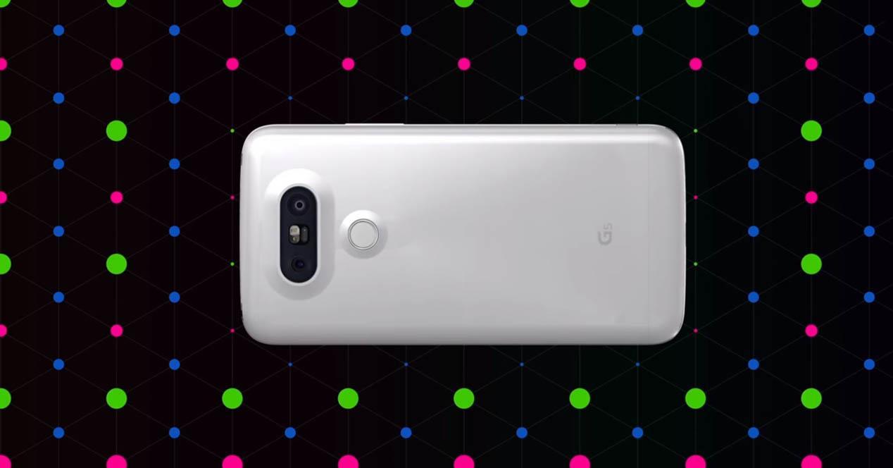 LG G5 con fondo leds de colores