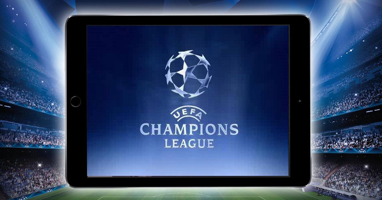 iPad Air 2 con logo de la Champions League