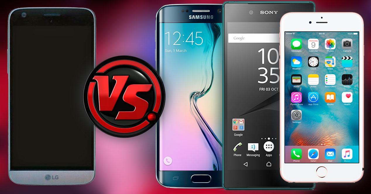 Comparativa LG G5 vs Galaxy S6 edge, Xperia Z5 e iPhone 6s