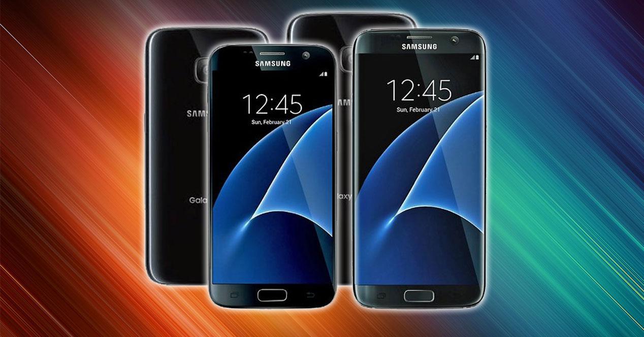 Samsung Galaxy S7 vistas frontal y trasera