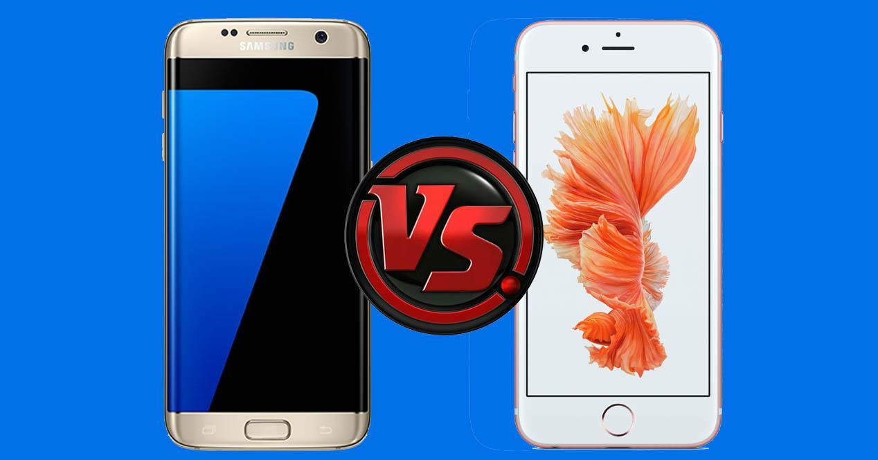Samsung Galaxy S7 Edge dorado y iPhone 6s blanco